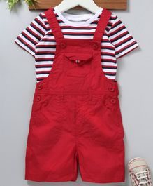 Babyhug Half Sleeves Woven Dungaree With Inner Tee - Red