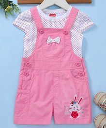 Babyhug Bunny Embroidered Dungaree & Inner Short Sleeves Tee - Pink