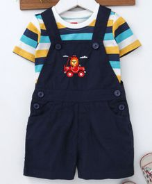 Babyhug Dungaree With Half Sleeves Striped Tee Lion Embroidered - Navy
