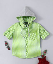 Rikidoos Checks Full Sleeves Hooded Shirt - Light Green