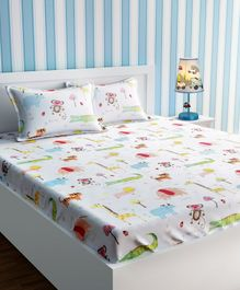 Urban Dream Bed Sheet With Pillow Cover Set Multi Print - White