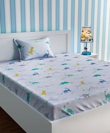 Urban Dream Bed Sheet With Pillow Cover Set Dino Print - White Blue