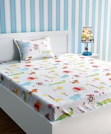 Urban Dream Bed Sheet With Pillow Cover Set Sketch Print - White