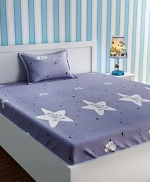 Urban Dream Bed Sheet With Pillow Cover Set Star Print - Purple & Black