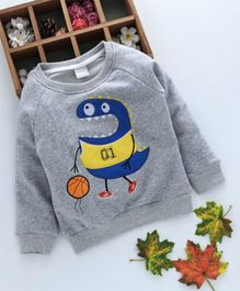Kookie Kids Cartoon Patch Full Sleeves Sweatshirt - Grey