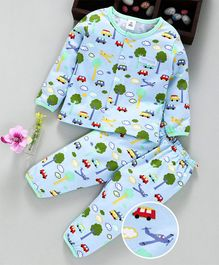 ToffyHouse Full Sleeves Night Suit Car & Tree Print - Light Blue