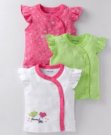 Babyoye Cap Sleeves Cotton Vests Pack of 3 - Pink White & Green