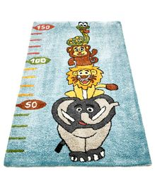 NHR Premium Quality Handwoven Animal Design Rug - Blue & Multicolor