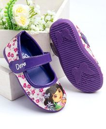 Dora Printed Belly Shoes - White Purple