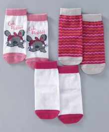 Cute Walk by Babyhug Anti Bacterial Ankle Length Sock Rabbit & Stripes Design Pack of 3 - Pink & White