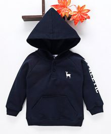 Simply Full Sleeves Hooded Sweatshirt - Navy Blue