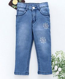 Chicklets Full Length Flower Embroidered Bottoms - Light Blue