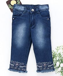 Chicklets Full Length Fringed & Design Pattern Bottoms - Blue