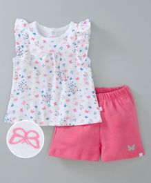 Babyoye Flutter Sleeves Cotton Top And Shorts Butterfly Print - White Pink