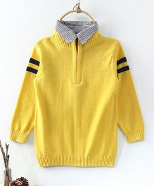 Rikidoos Full Sleeves Half Front Zip Closure Collar Neck Sweater - Yellow