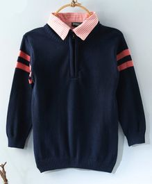 Rikidoos Full Sleeves Half Front Zip Closure Collar Neck Sweater - Navy Blue