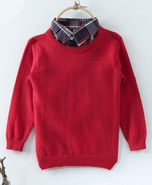 Rikidoos Full Sleeves Contrast Collar Sweater - Red