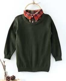Rikidoos Full Sleeves Contrast Collar Sweater - Dark Green