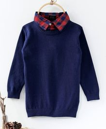 Rikidoos Full Sleeves Contrast Collar Sweater - Navy Blue