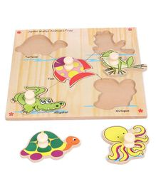 Kinder Creative Wooden Junior Water Animals With Knobs Puzzle - Multicolour