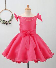 Bluebell Sleeveless Party Dress with Bow Applique - Pink