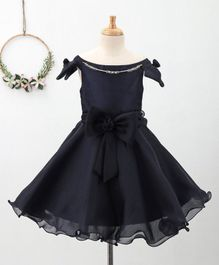 Bluebell Sleeveless Party Dress with Bow Applique - Navy Blue