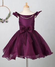 Bluebell Sleeveless Party Dress With Bow Applique - Wine