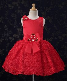 Bluebell Party Wear Sleeveless Frock Flower Corsages - Red