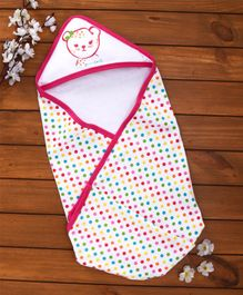 Pink Rabbit Hooded Wrapper Dot Print - White Pink