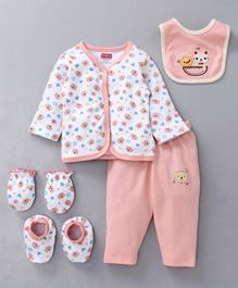 Babyhug Clothing Gift Set Animal Embroidery Peach White - 5 Pieces