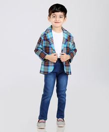 Rikidoos Full Sleeves Tee With Checked Blazer & Jeans Set - Blue