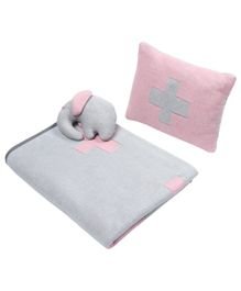 Wobbly Walk Cotton Reversible Blanket With Pillow & Toy - Light Pink