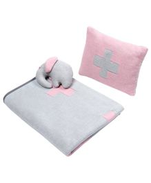 Wobbly Walk Cotton Reversible Blanket With Pillow & Toy - Pink