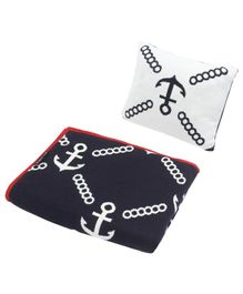 Wobbly Walk Cotton Reversible Blanket With Pillow  - Navy & White