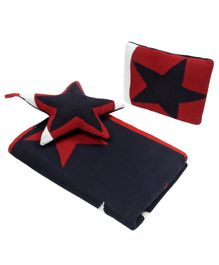 Wobbly Walk Cotton Reversible Blanket With Pillow & Toy  - Navy & Red