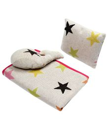 Wobbly Walk Cotton Blanket With Pillow & Toy  - Off White
