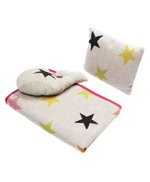 Wobbly Walk Cotton Blanket With Pillow & Toy Star Print - Off White