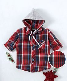Rikidoos Checks Full Sleeves Hooded Shirt - Red