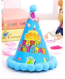 Syga Birthday Party Hat With Pom Pom Motif (Designs May Vary) - Blue