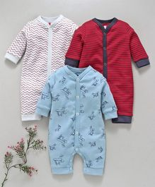 I Bears Full Sleeves Footed Rompers Pack of 3 - Red Blue & White