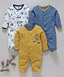 I Bears Full Sleeves Footed Rompers Pack of 3 - Yellow White & Blue