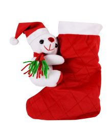 Ultra Hanging Santa Claus Socks Gift Bag With Teddy Bear - Red