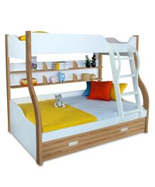 Alex Daisy Wooden Columbia Bunk With Trundle Bed - Oak