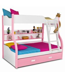 Alex Daisy Wooden Columbia Bunk With Trundle Bed - Pink