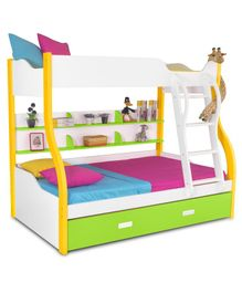 Alex Daisy Wooden Columbia Bunk With Trundle Bed - Yellow Green