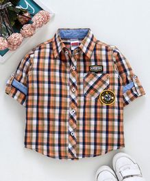 Babyhug Full Sleeves Chequered Shirt With Pocket - Orange