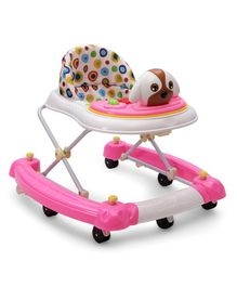 Musical Walker Cum Rocker With Puppy Shaped Play Tray - Pink White