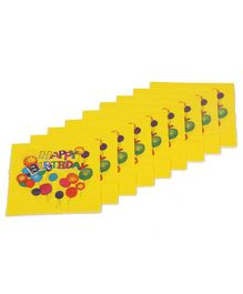 Funcart Birthday Themed Paper Napkins Set of 9 - Yellow