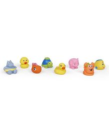 Animal Shaped Bath Toys Pack of 8 - Multicolour
