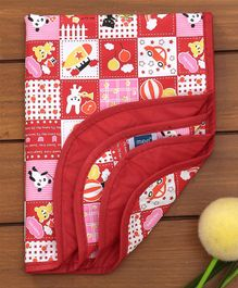 Mee Mee Bed Protector Plastic Mat Multi Print - Red